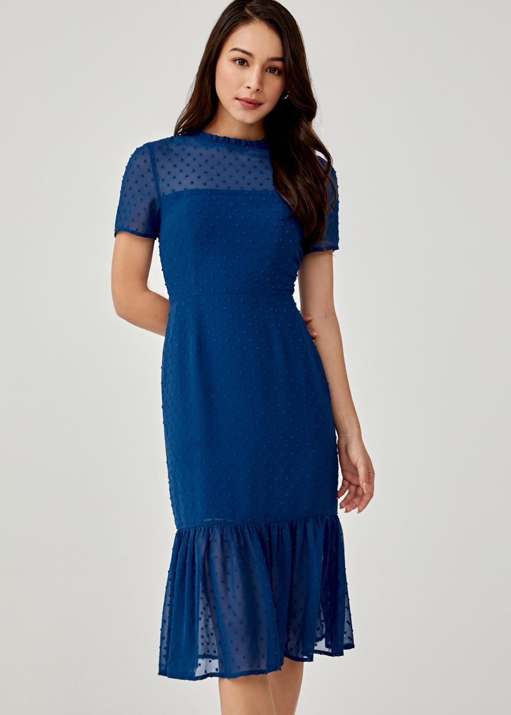 Vivienne Jacquard Ruffle Hem Dress