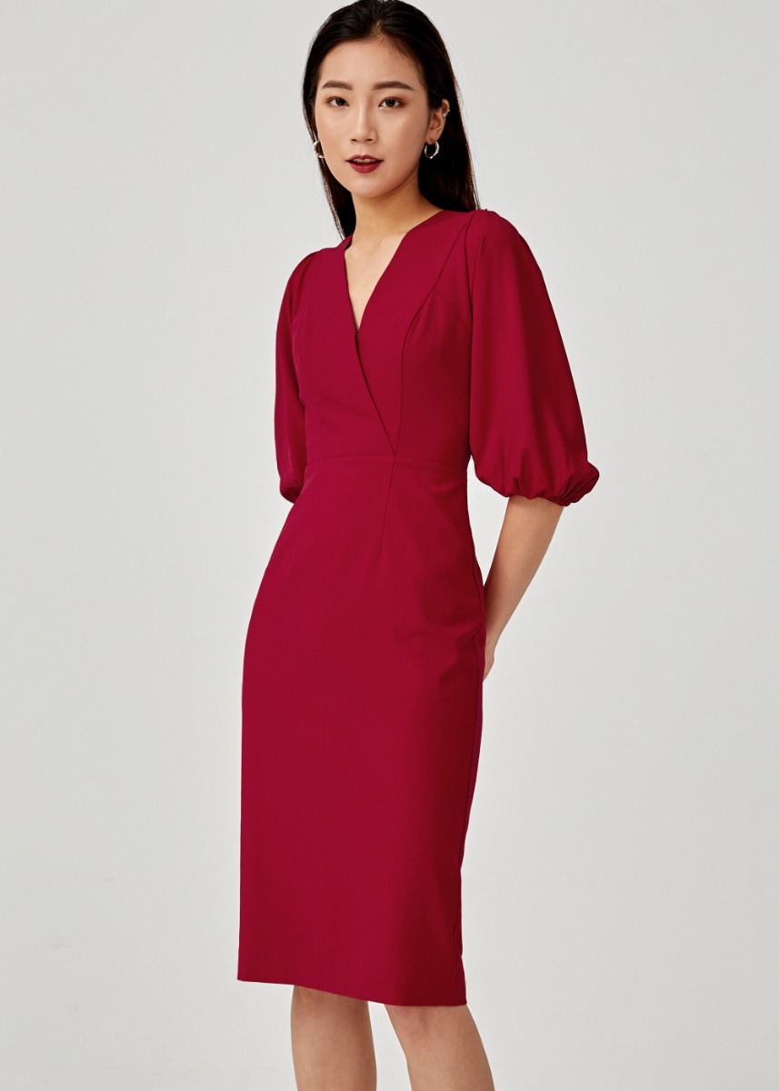 Hyacynthe Puff Sleeve Midi Dress