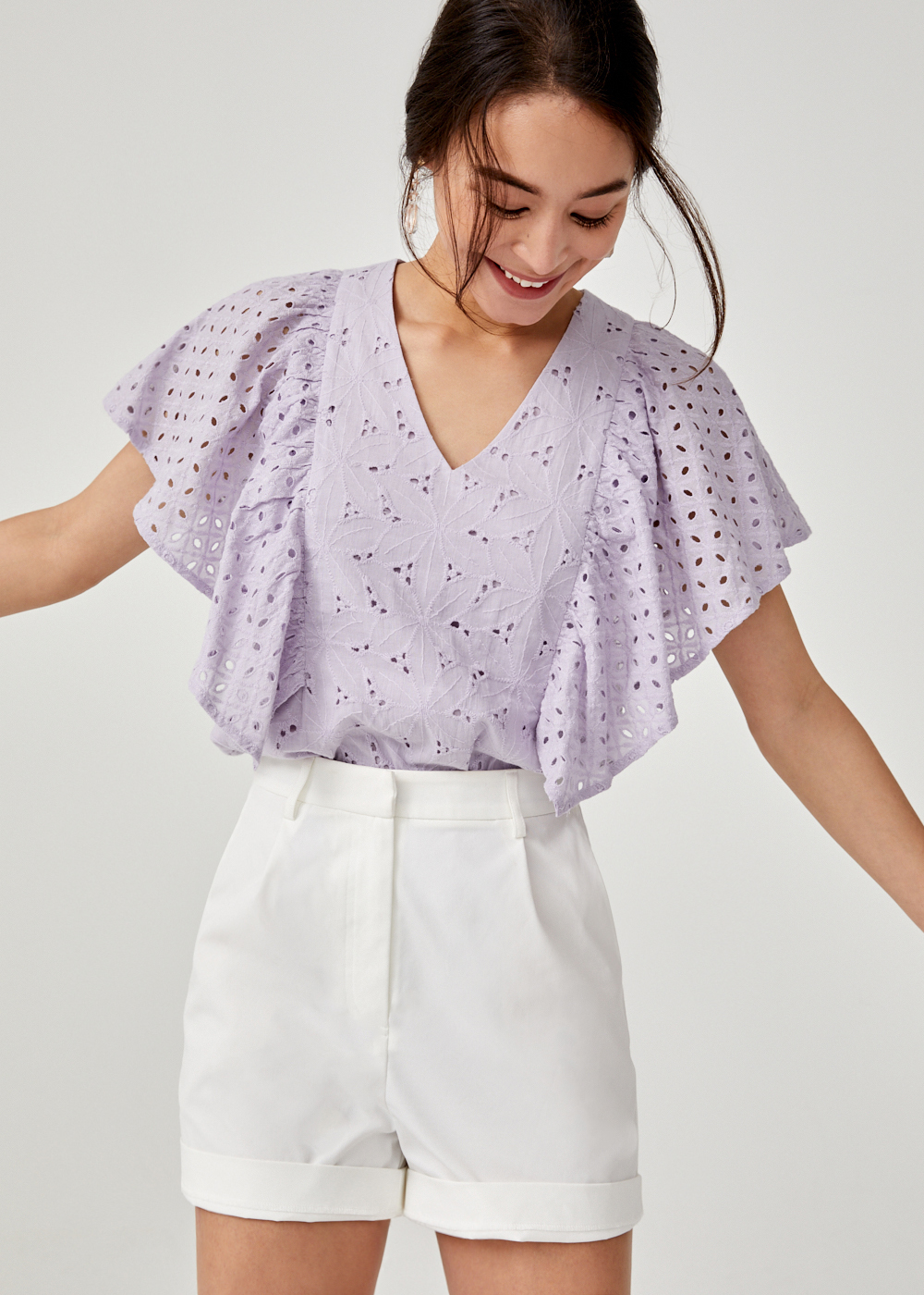 Tove Broderie Anglaise Ruffle Sleeve Top
