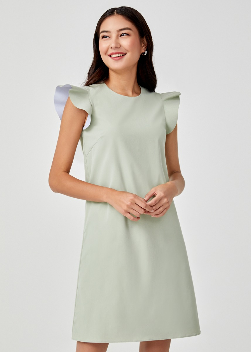 Galia Ruffle Sleeve Shift Dress