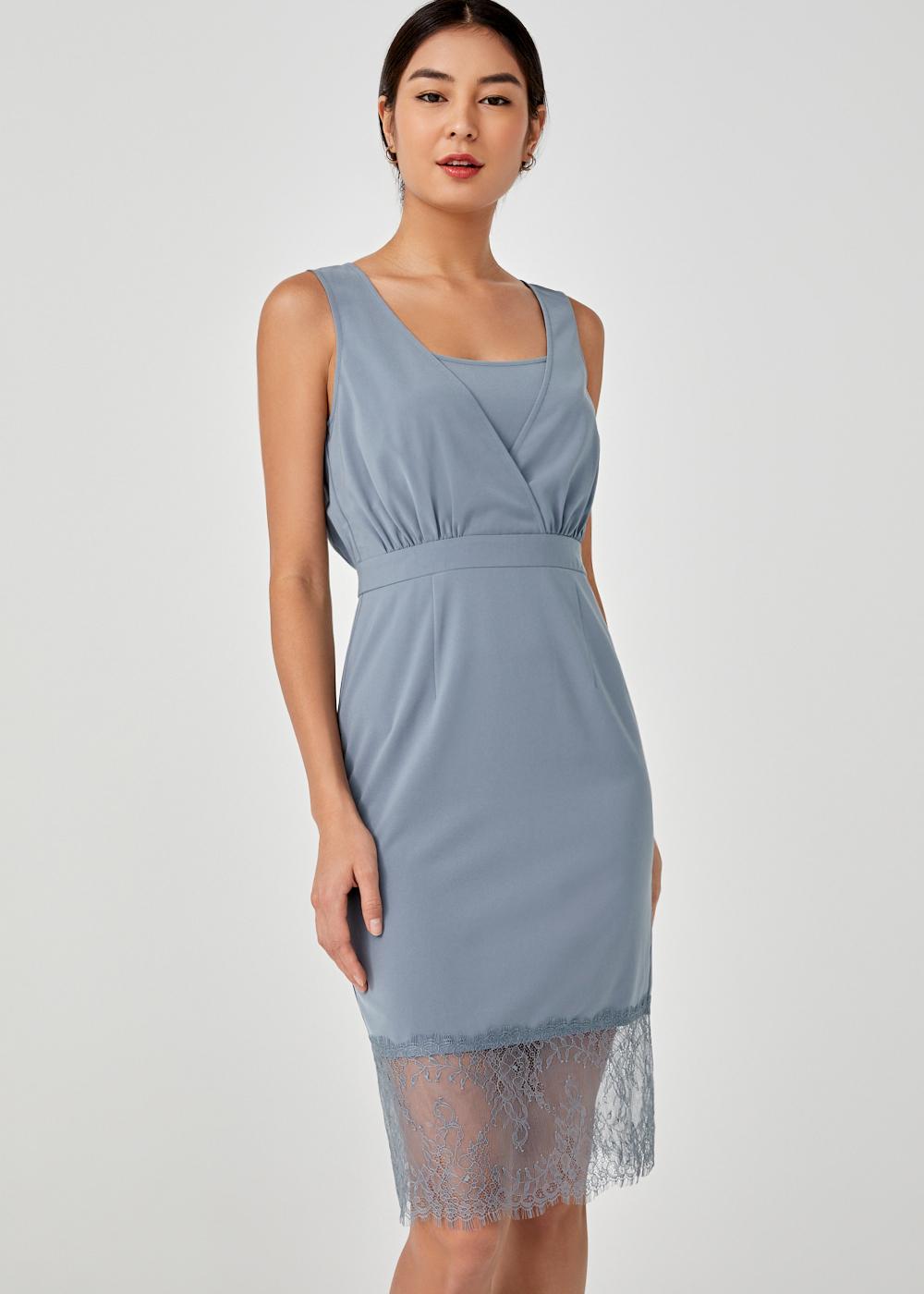 Tamika Back Slit Lace Trim Dress