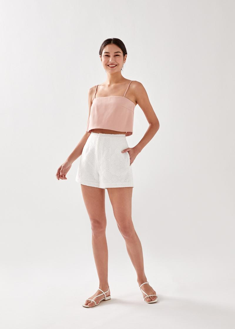 Almie Lace Overlay Tailored Shorts