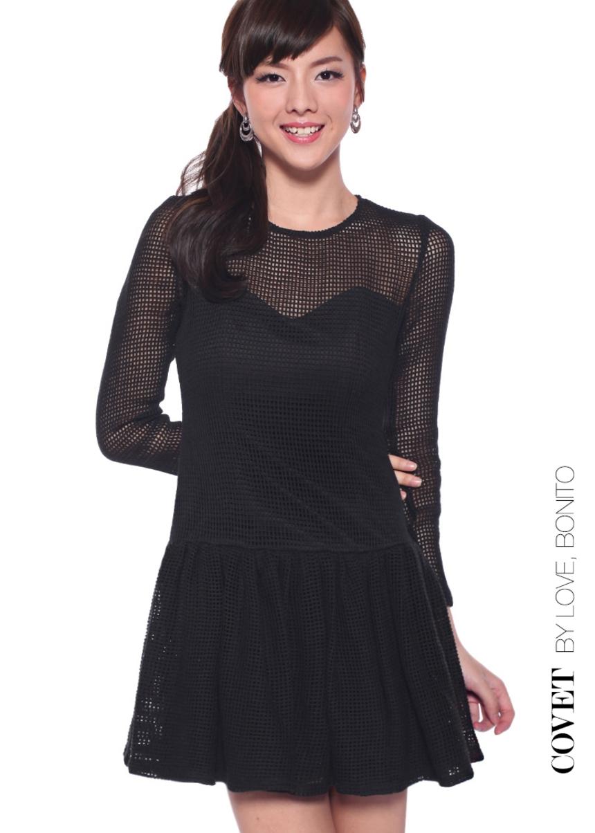 Covet Nadena Netted Frill Hem Dress