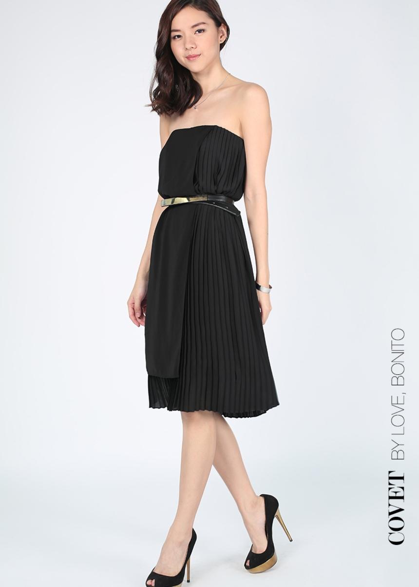 Covet Zanetti Layer Pleated Tube Dress
