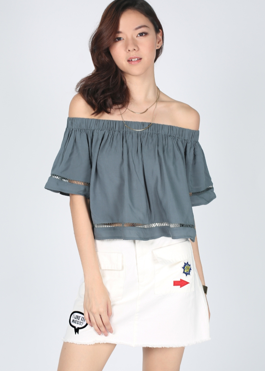 Ellecia Patch Denim Skirt