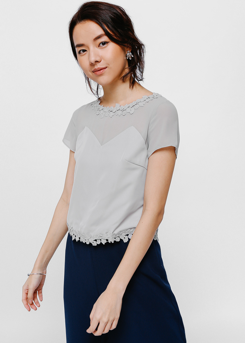 Tamber Lace Trim Top