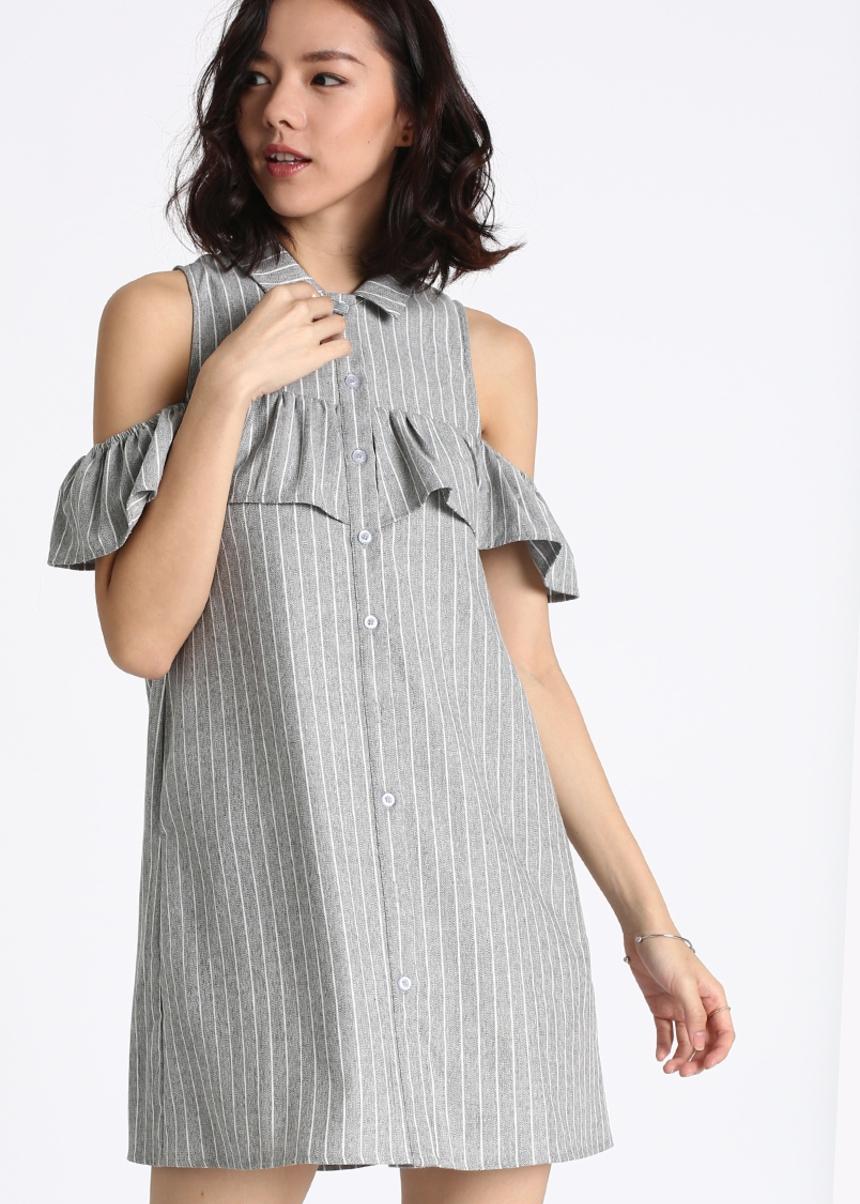 Fayrie Striped Off Shoulder Shirt Dress