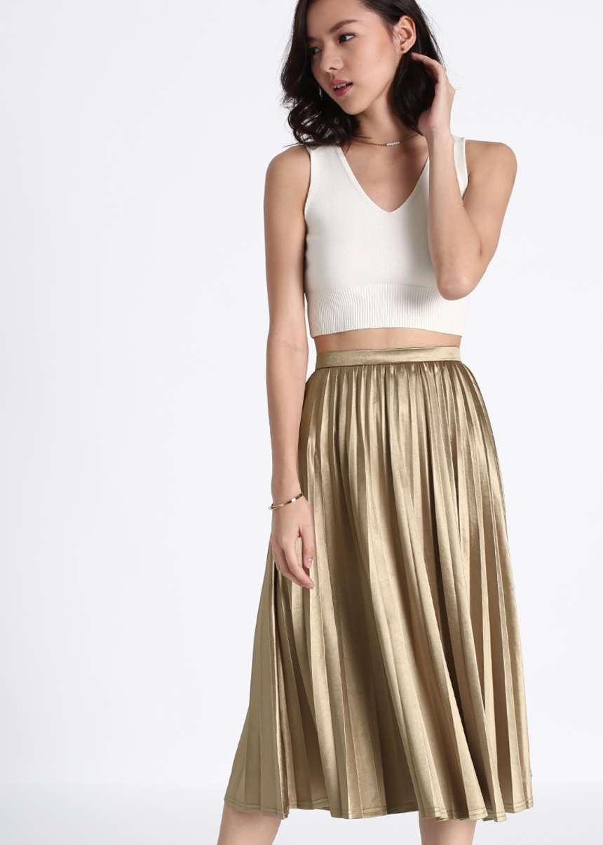 Marikate Pleated Midi Skirt