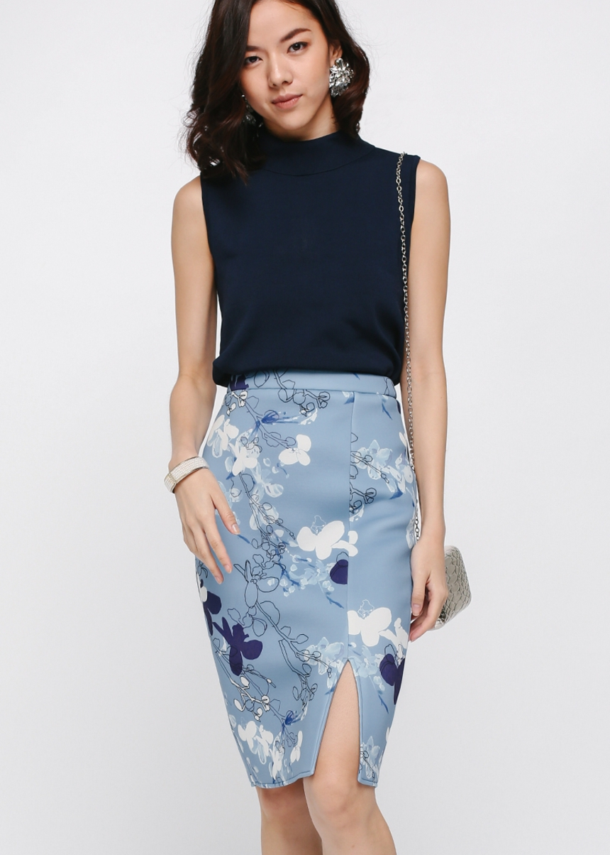 Ducena Printed Neoprene Pencil Skirt