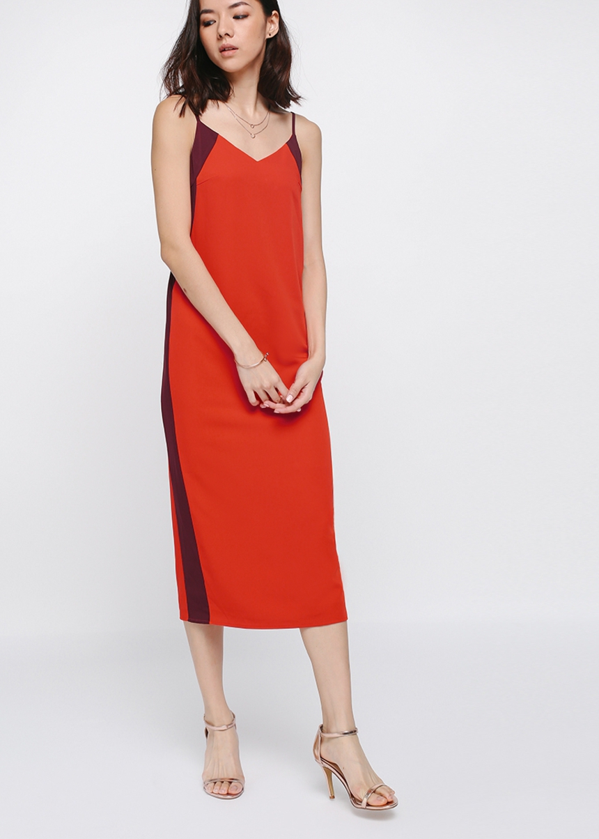 Nathaira Side Cutout Contrast Midi Dress