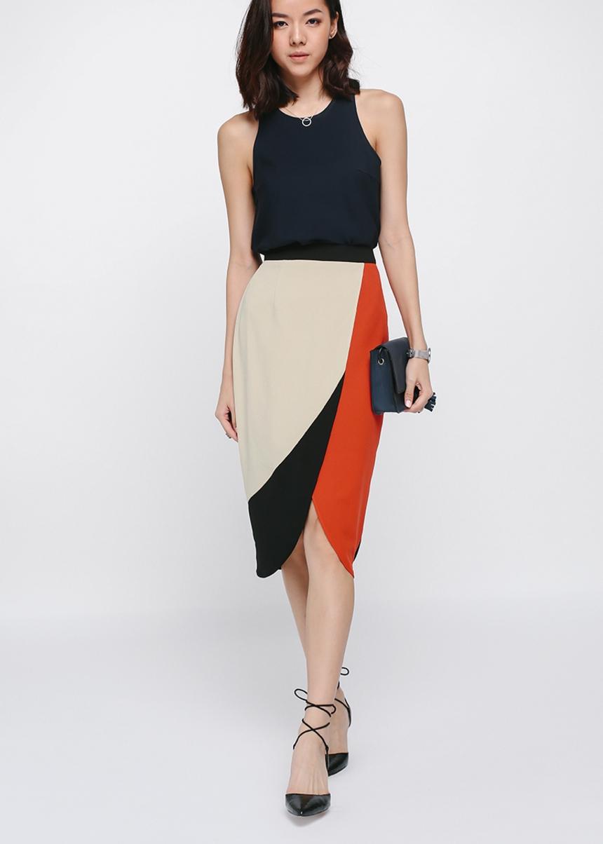 Kaeli Colourblock Crossover Midi Skirt