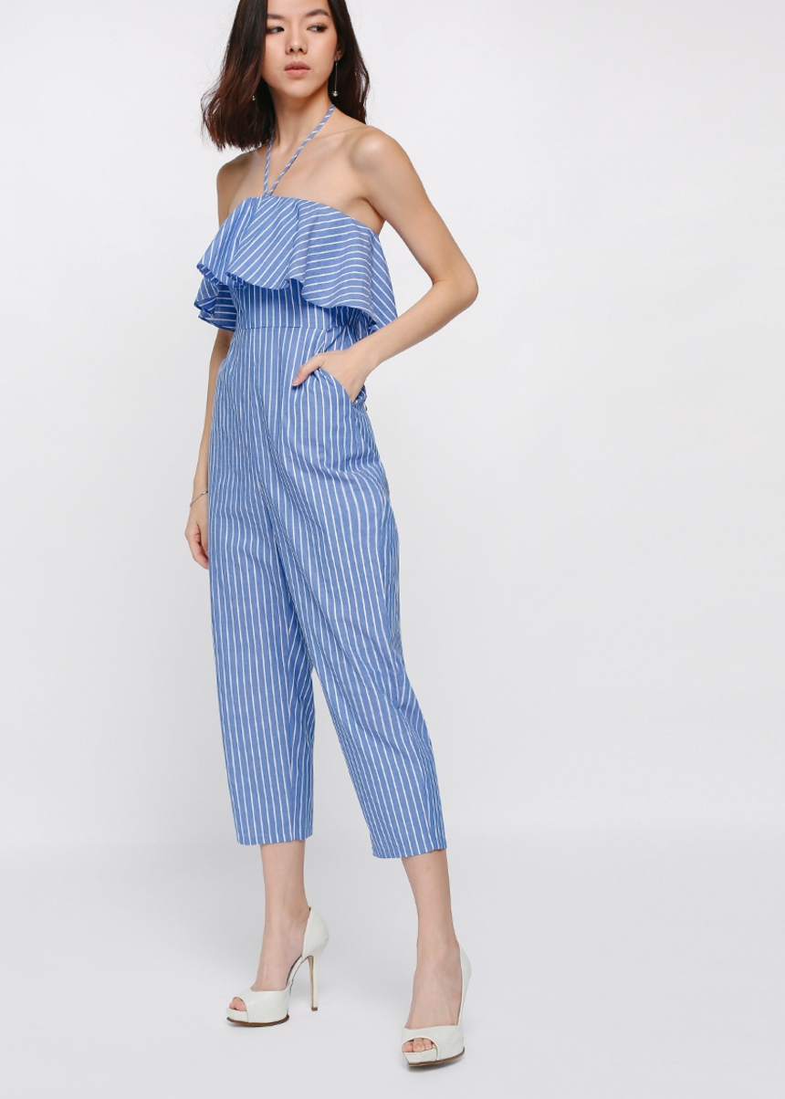 Jenay Striped Tube Midi Jumpsuit