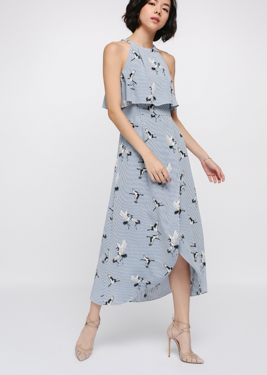 Monae Printed Layer Midi Dress