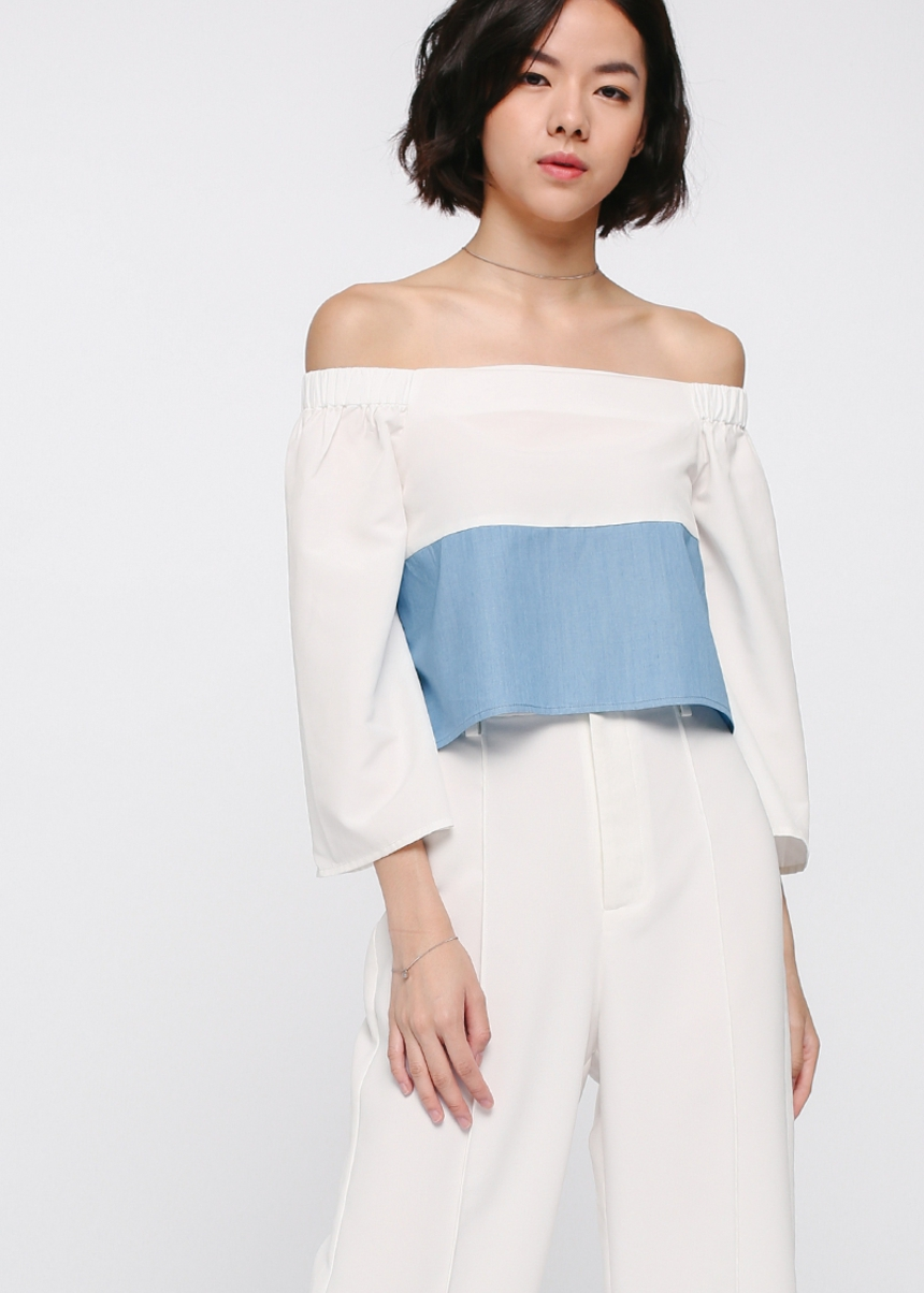 Tarelle Contrast Off Shoulder Top