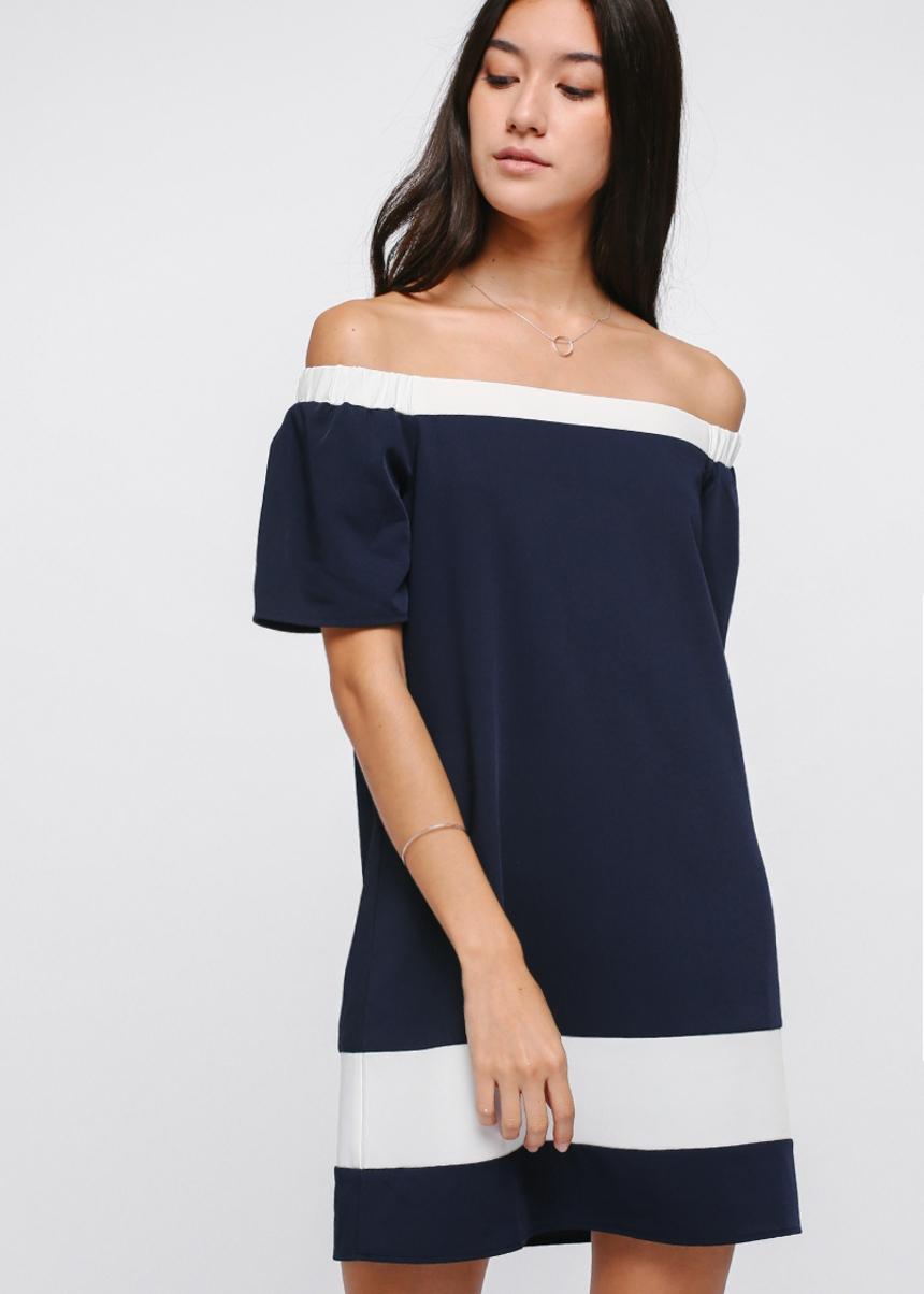 Enya Contrast Off Shoulder Dress