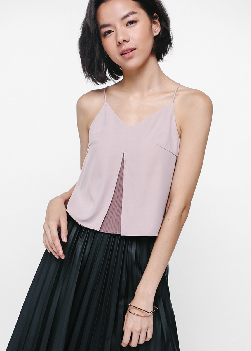 Arysel Pleated Underlay Cropped Camisole