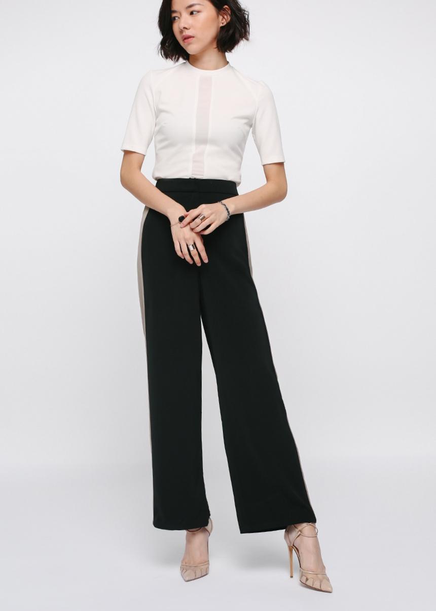 Pereze Contrast Panel Wide Leg Pants