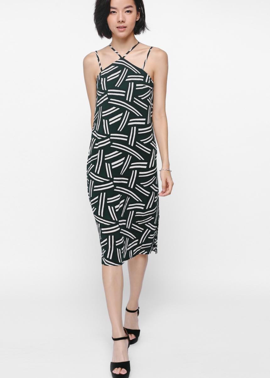 Tashay Printed Halter Midi Dress