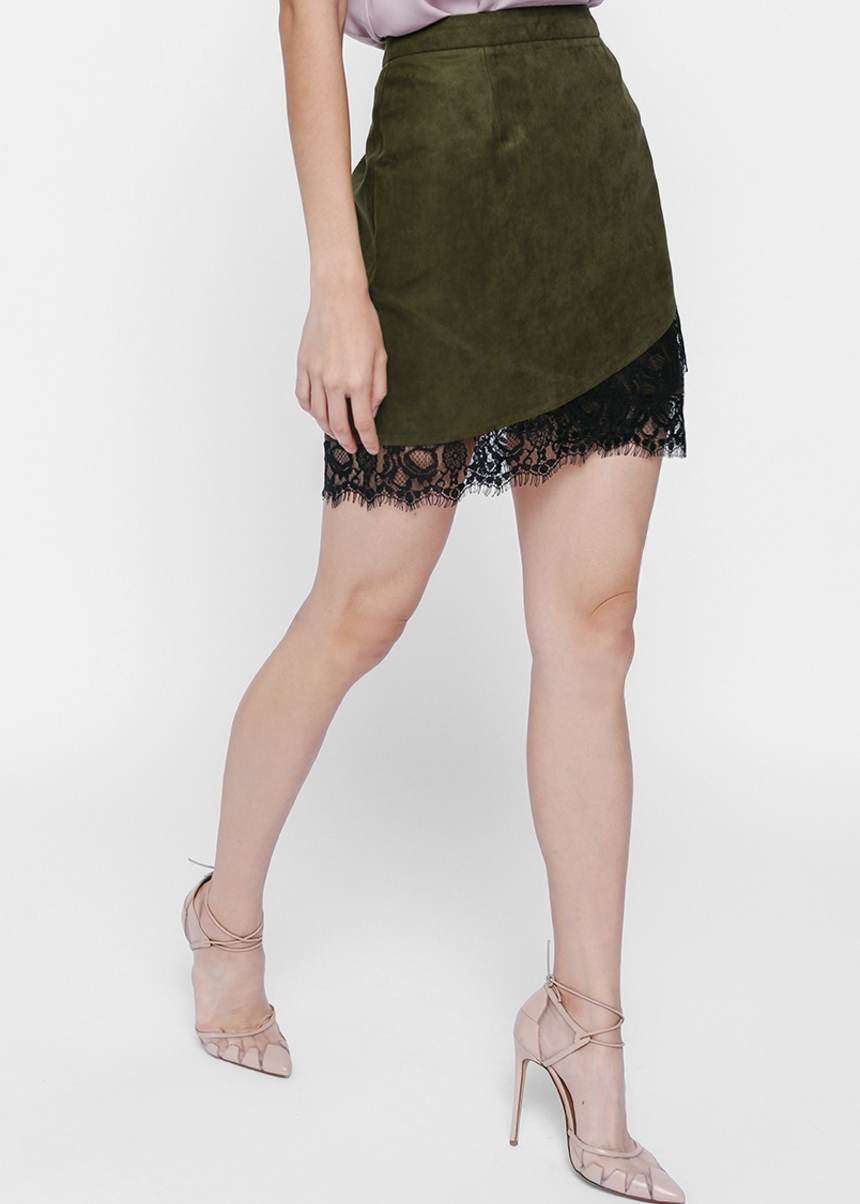 Leara Faux Suede Lace Trim Skirt