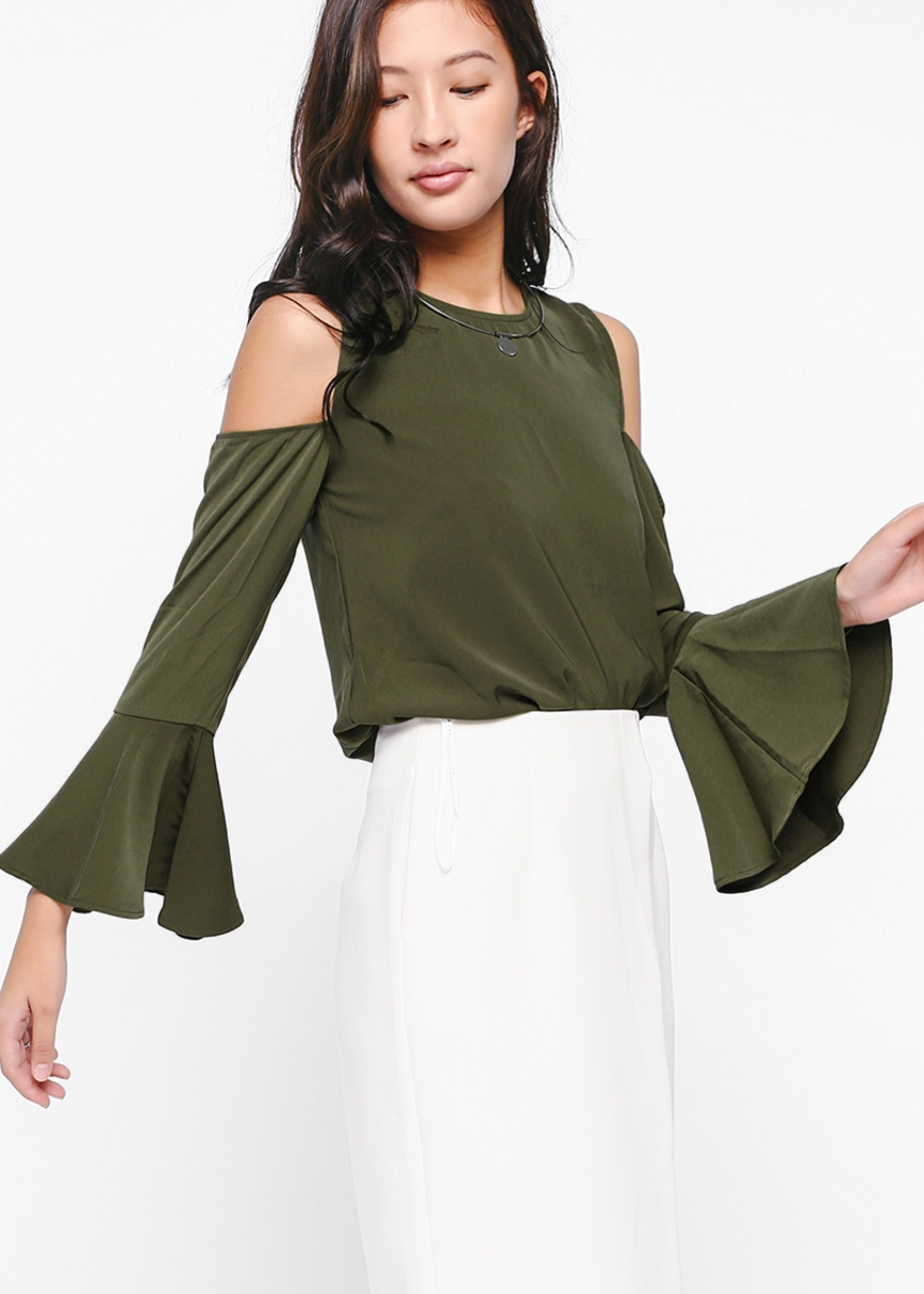 Odetta Cutout Shoulder Bell Sleeve Top
