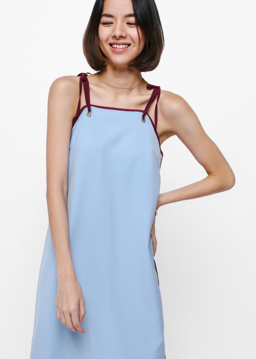 Riveriea Contrast Grommet Midi Dress