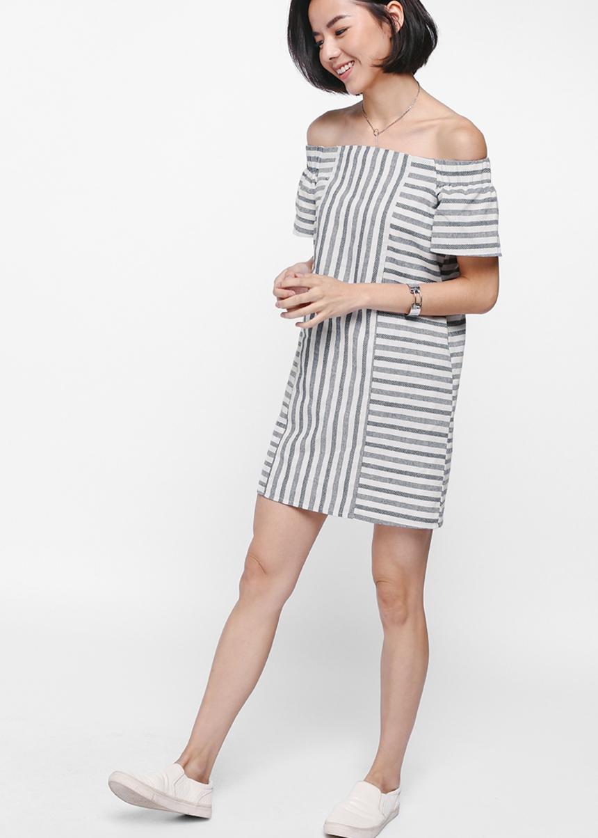 Schule Striped Off Shoulder Dress