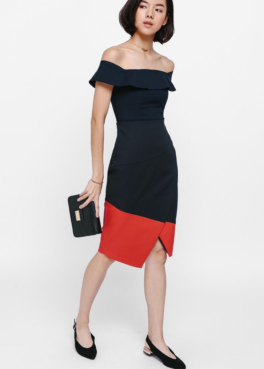 Sheryne Colourblock Crossover Pencil Skirt