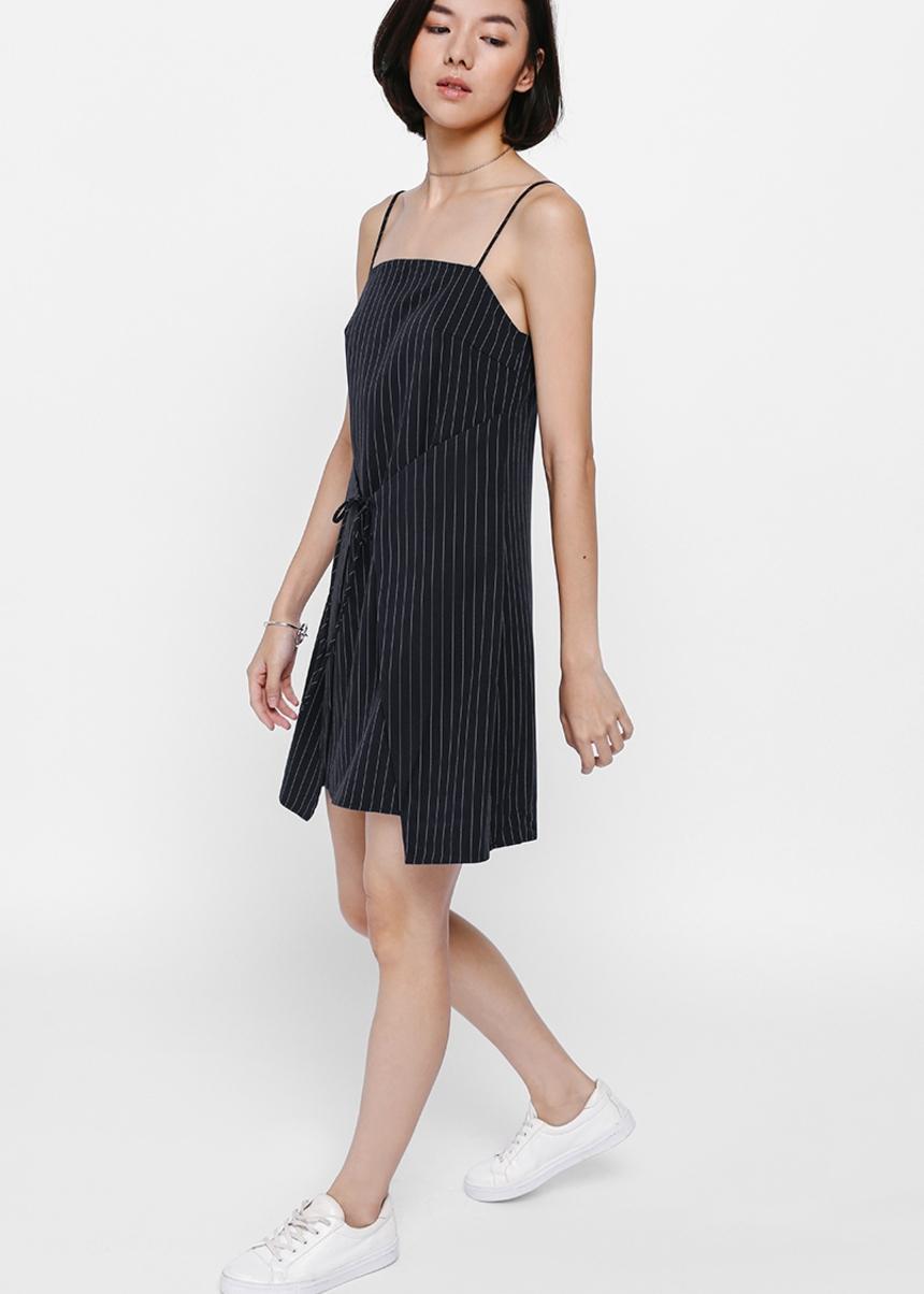 Alkyna Pinstriped Foldover Dress