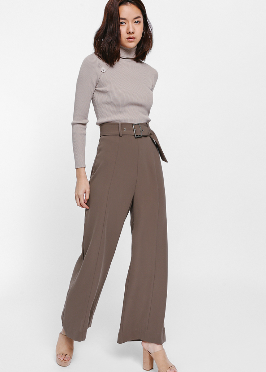 Betrana Belted Wide Leg Pants