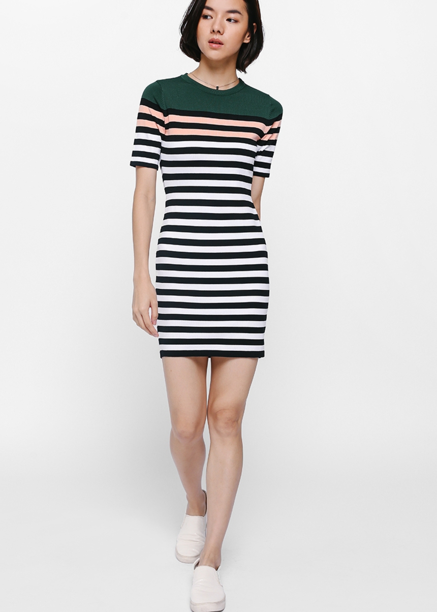 Reysha Striped Knit Dress