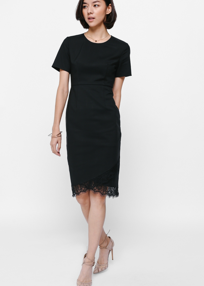 Lyndle Lace Trim Midi Dress