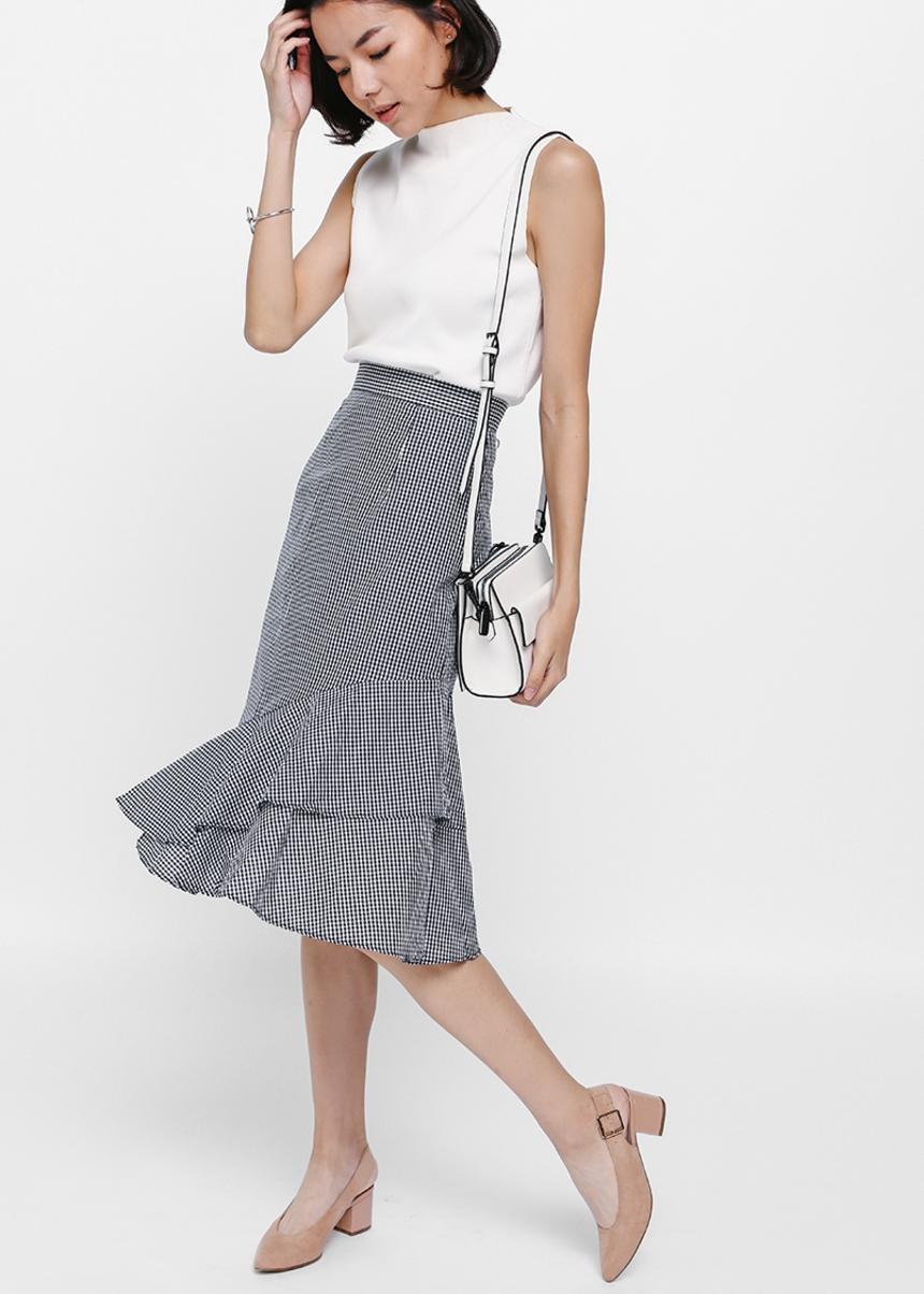Yiara Gingham Asymmetrical Trumpet Skirt