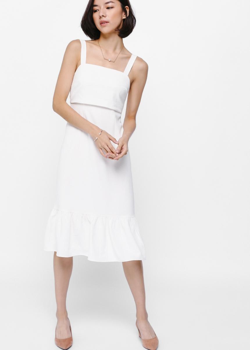 Dreya Tie Back Ruffled Hem Midi Dress