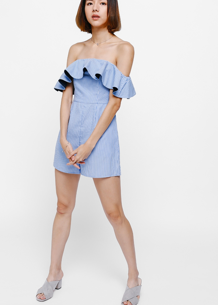 Gillary Off Shoulder Striped Playsuit