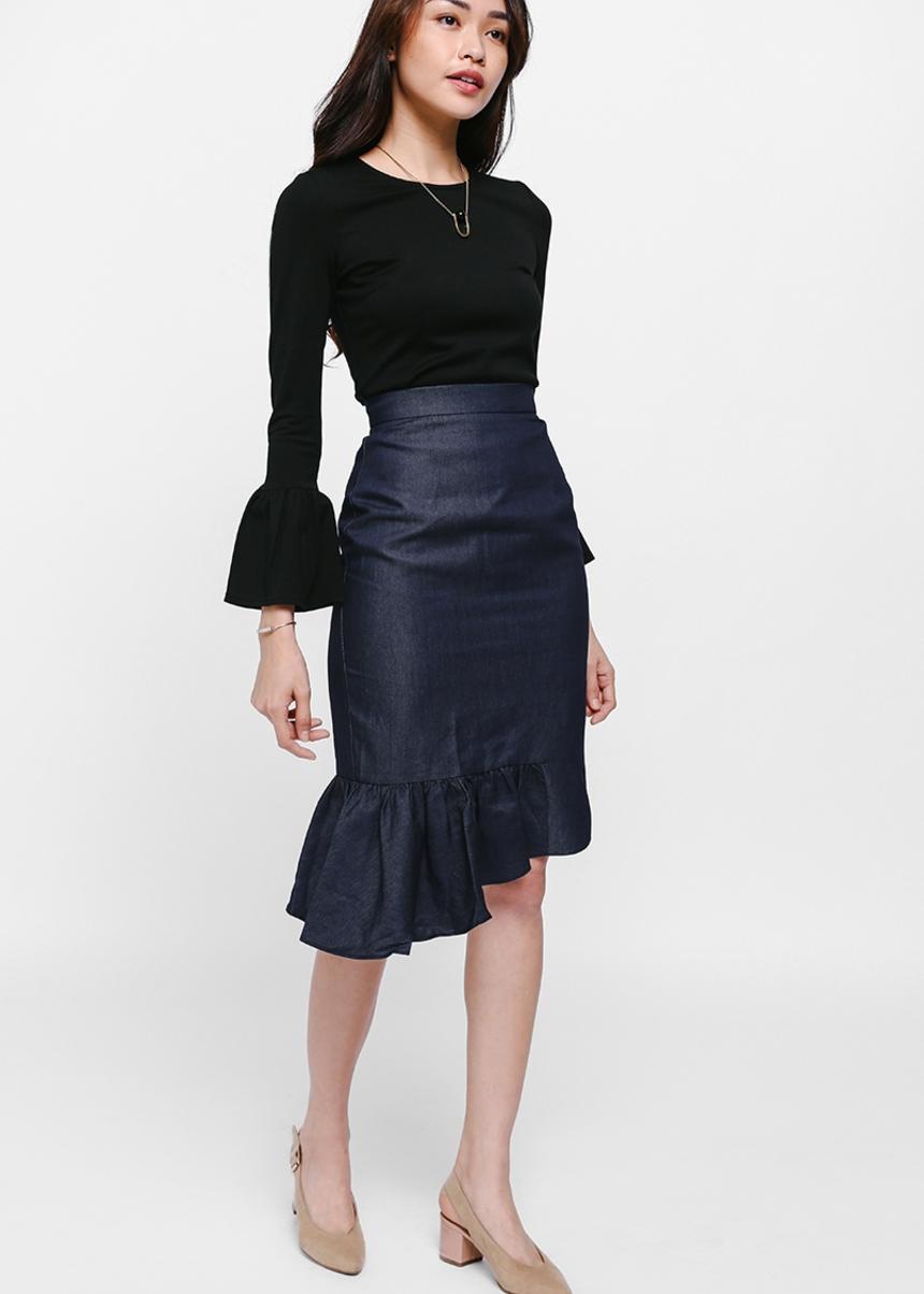 Feanne Denim Asymmetrical Frill Skirt