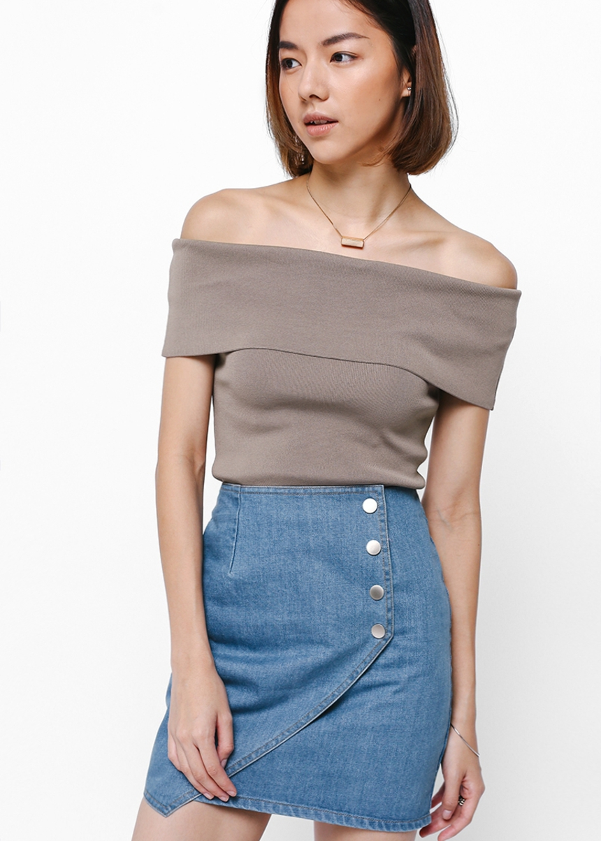 Sheya Foldover Denim Skirt