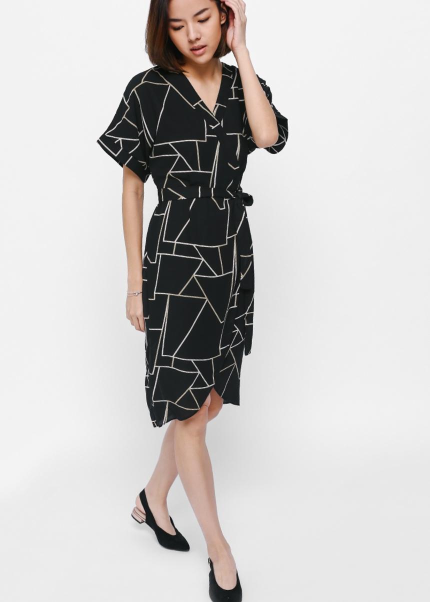 Yilva Printed Sash Wrap Dress