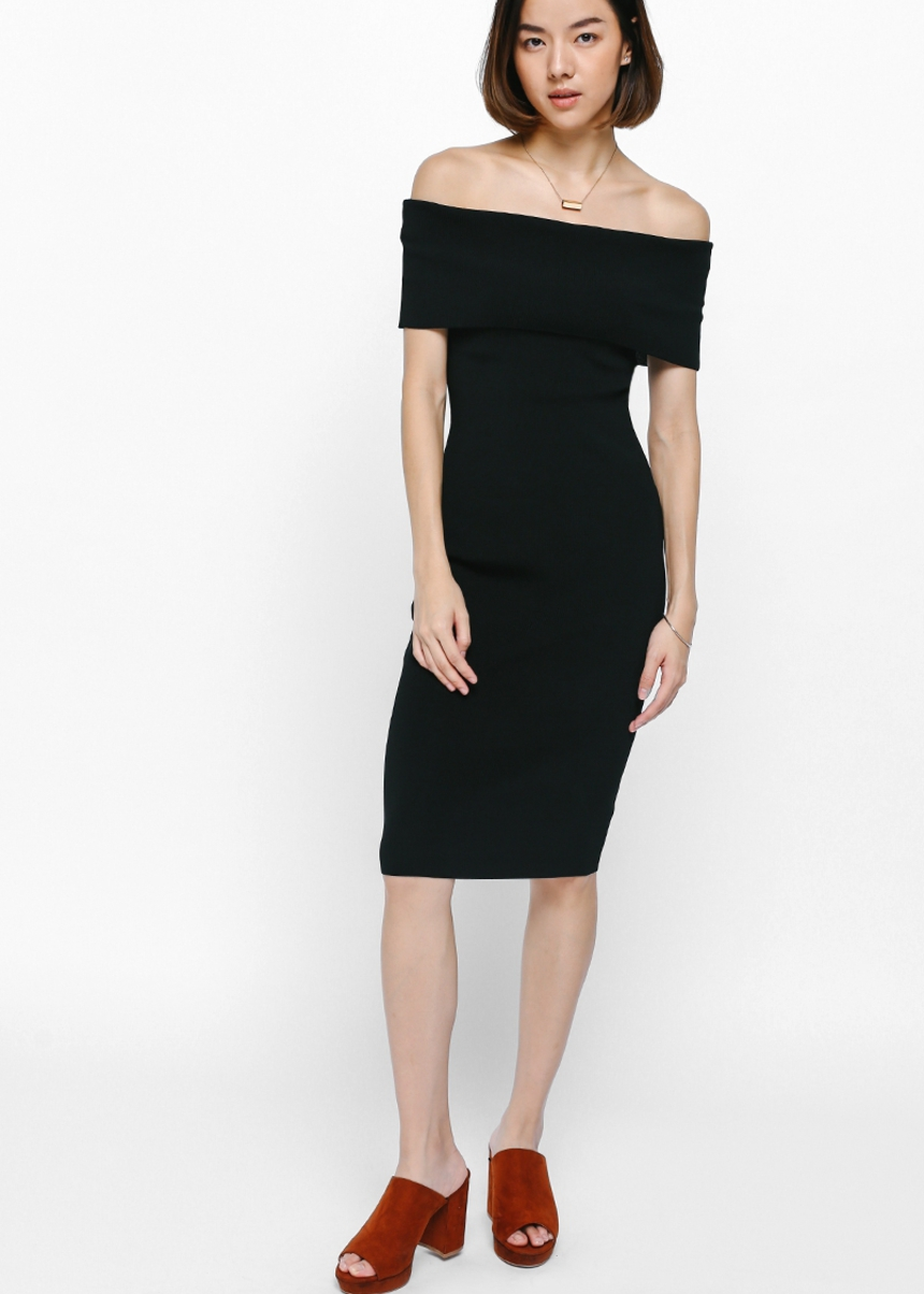 Taria Off Shoulder Knit Midi Dress