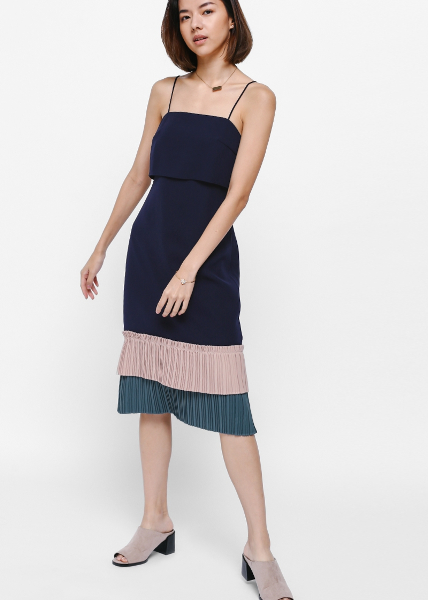 Glaudia Layered Pleated Hem Dress