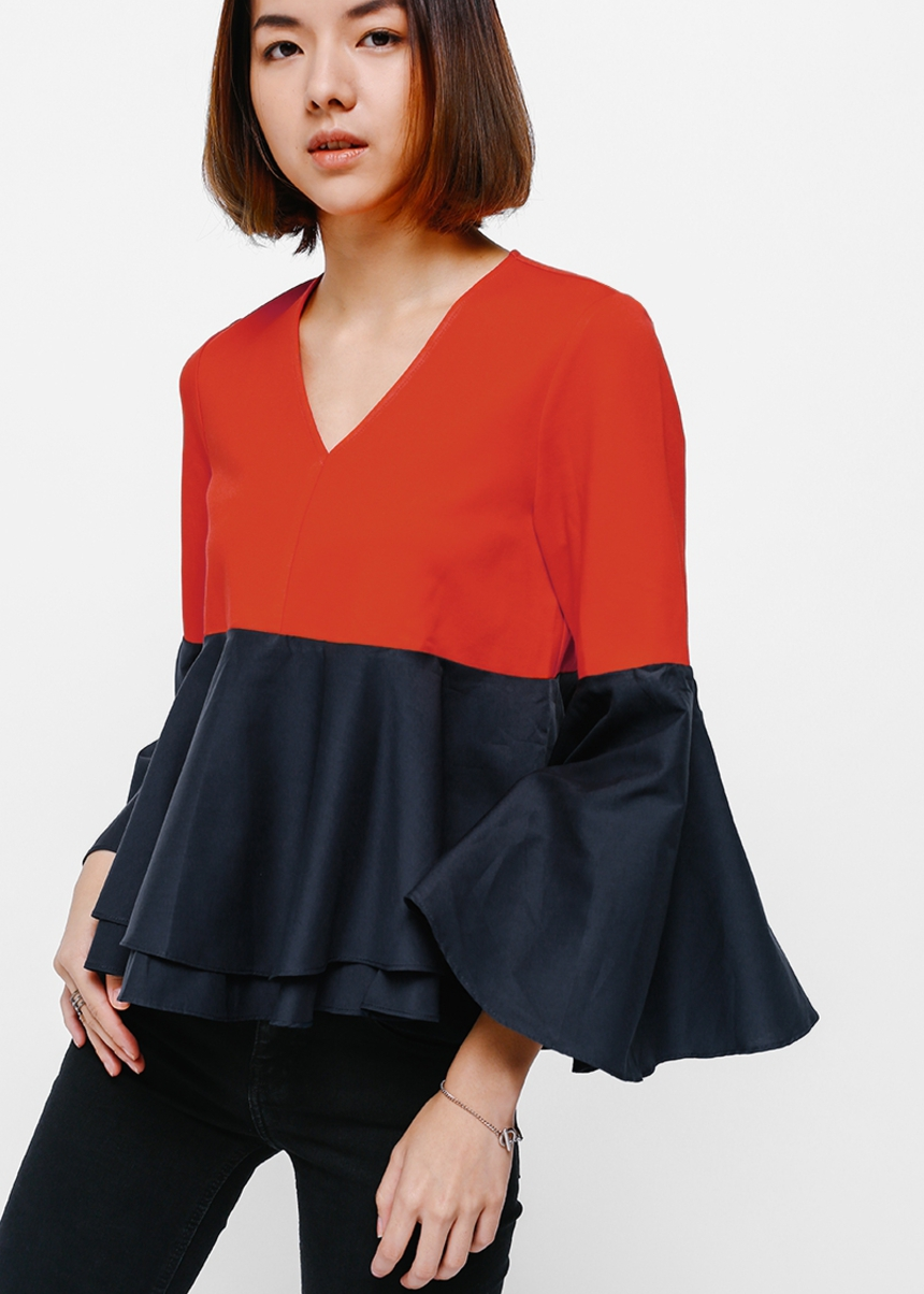 Vesta Contrast Bell Sleeve Baby Doll Top