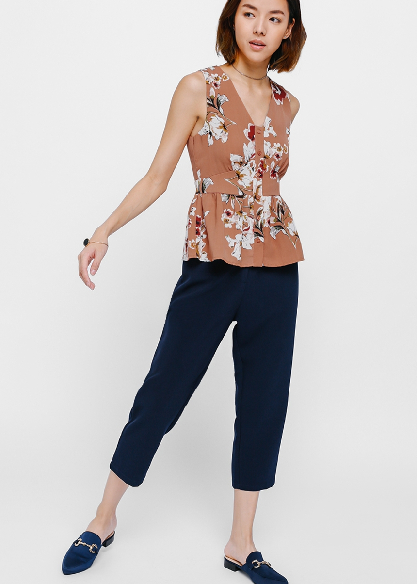 Telsha Printed Button Front Top