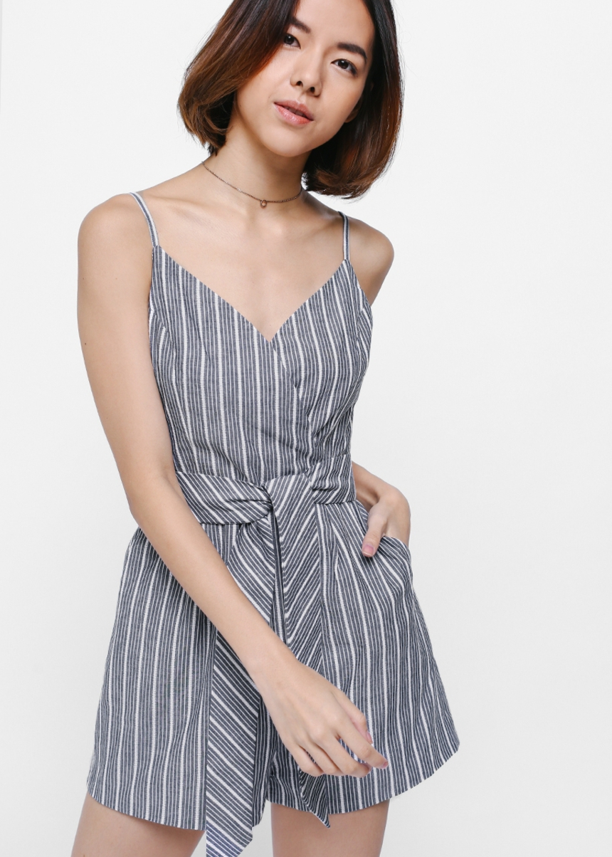 Peare Striped Sash Playsuit