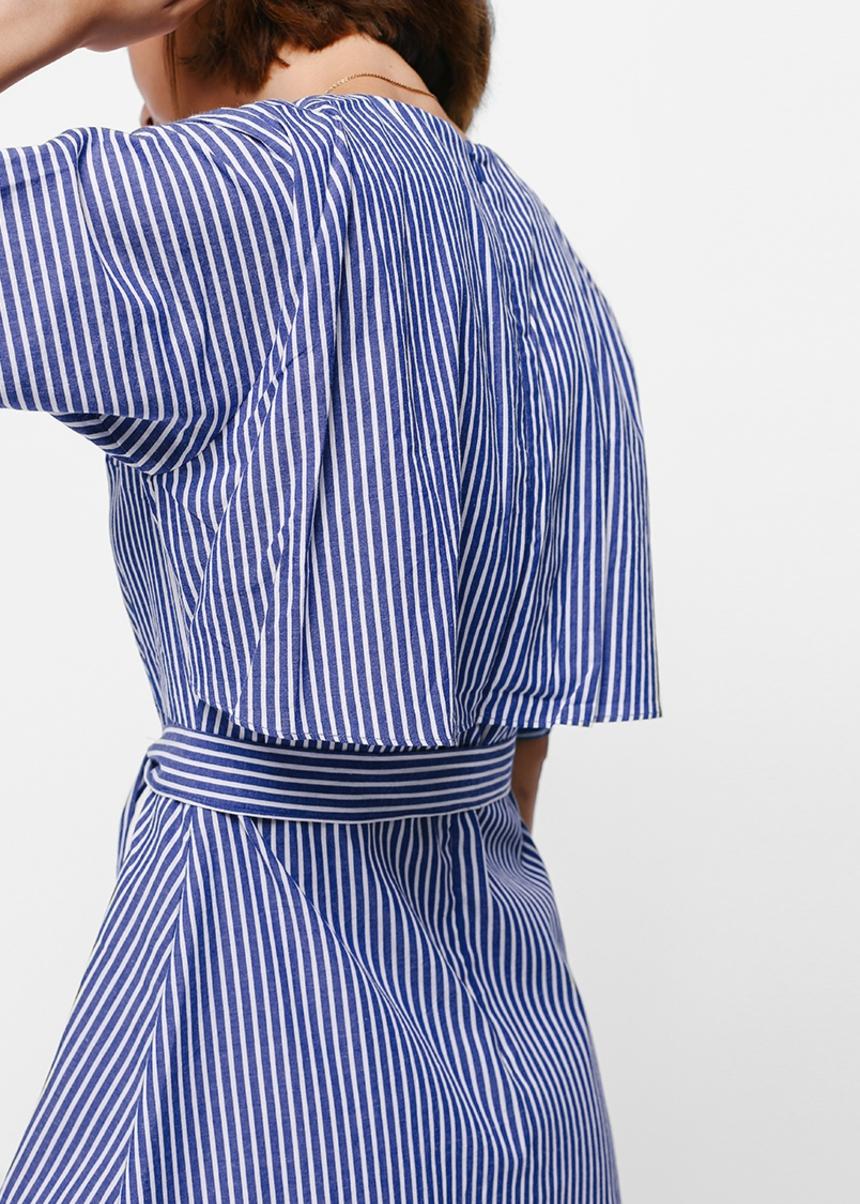 Dalriane Striped Sash Midi Dress