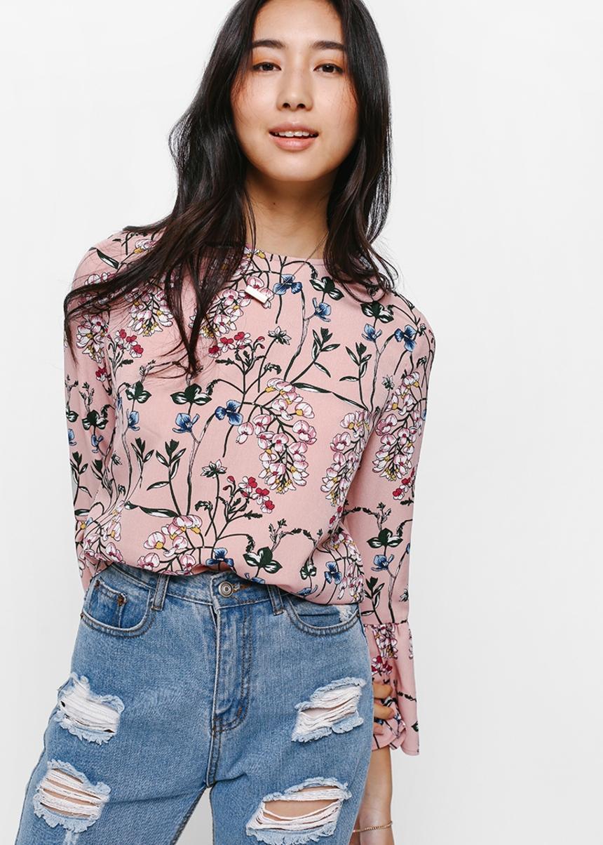 Feldon Floral Bell Sleeve Top