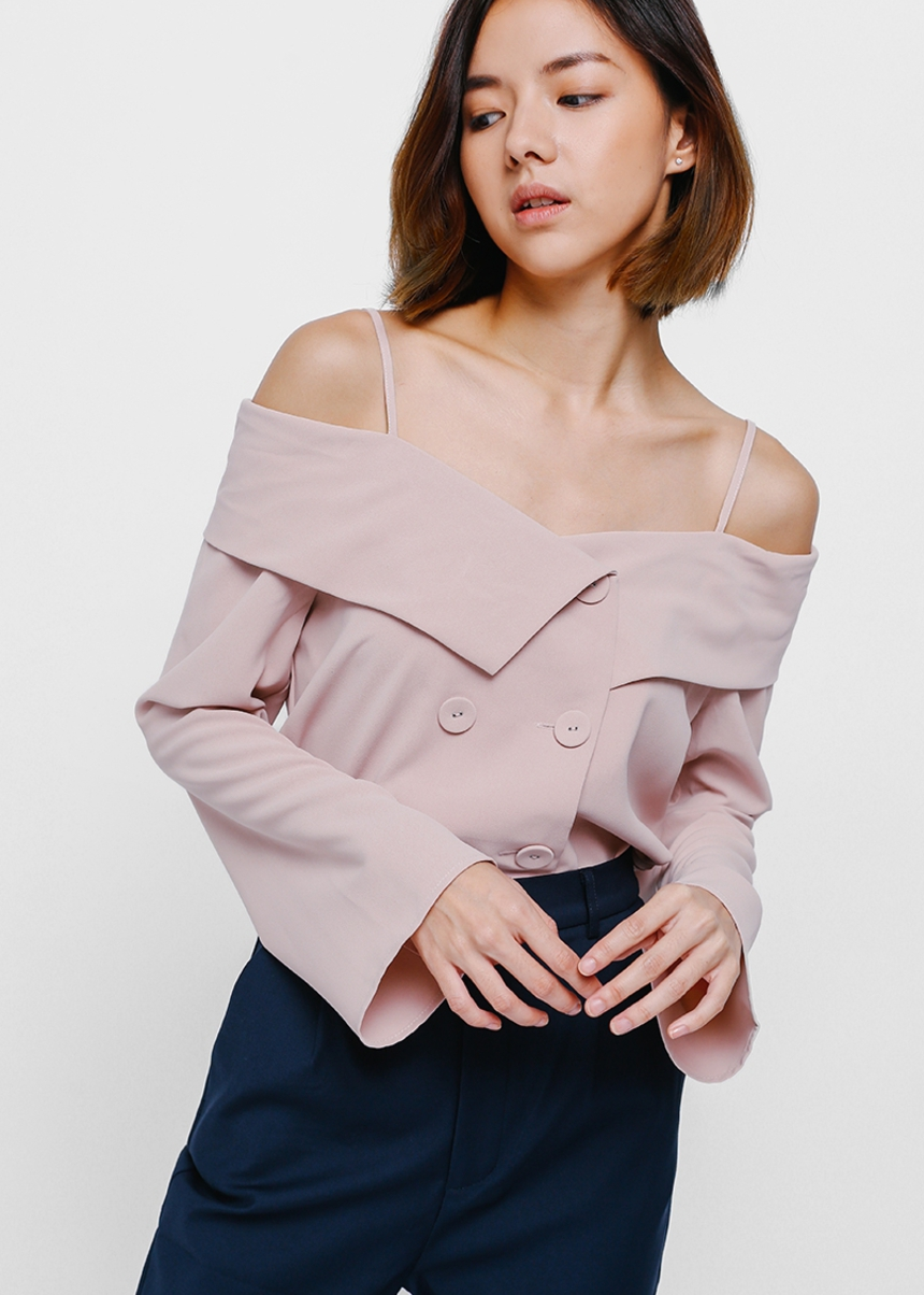 Gylne Off Shoulder Double Breasted Top