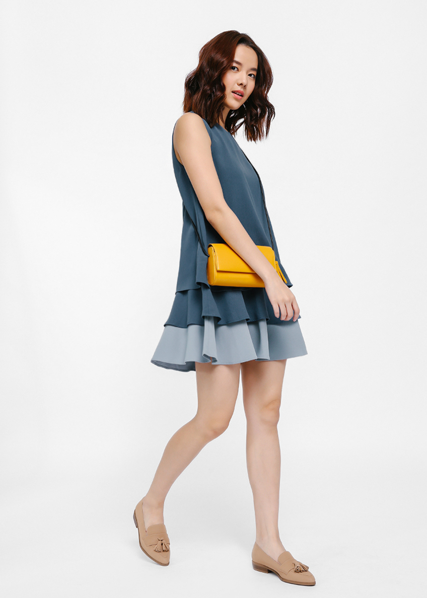 Gilvon Contrast Layered Dress