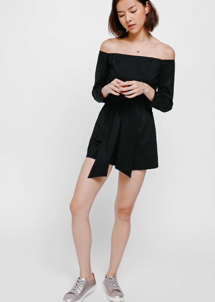 Pasha Off Shoulder Sash Playsuit