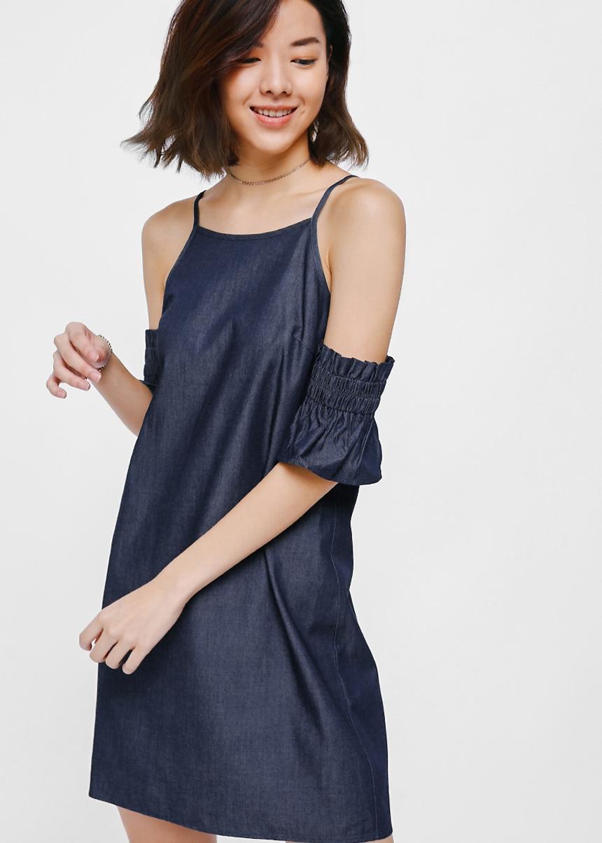 Dortha Off Shoulder Denim Dress