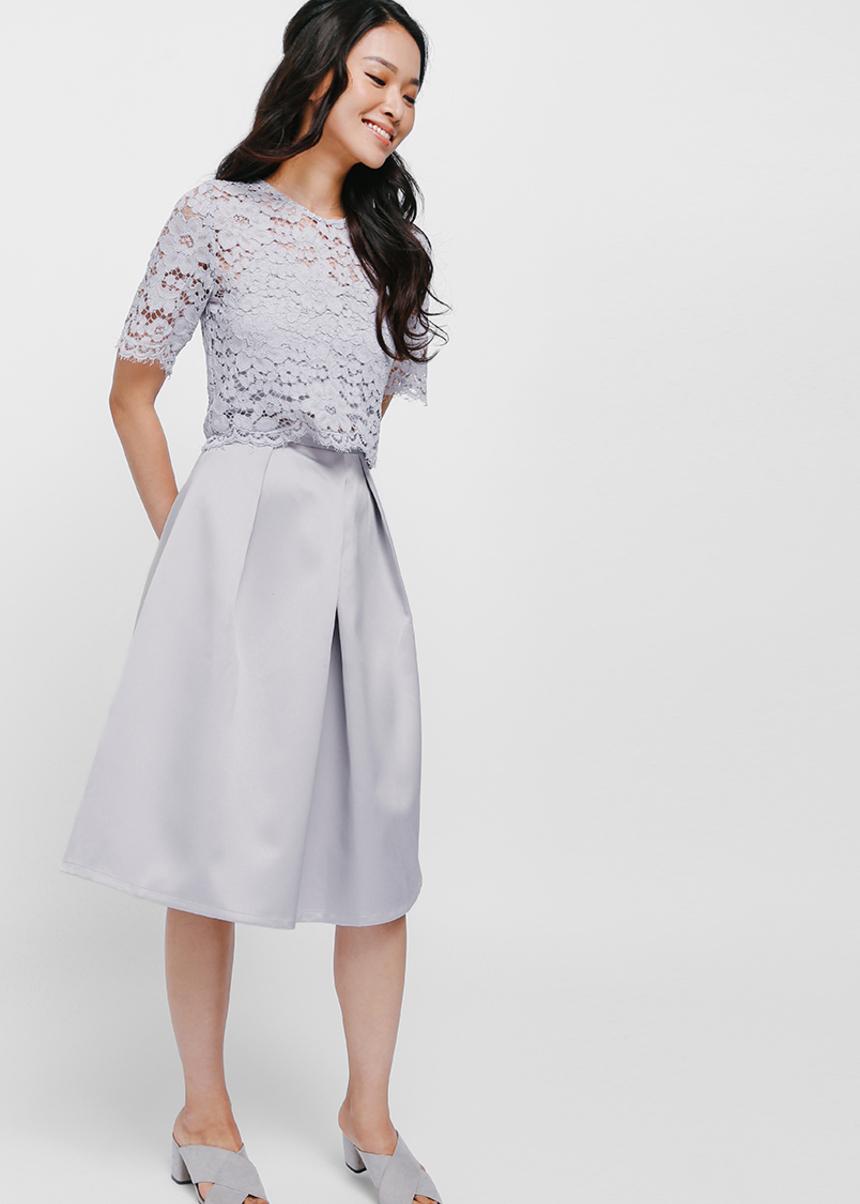 Rylvia Satin Midi Skirt