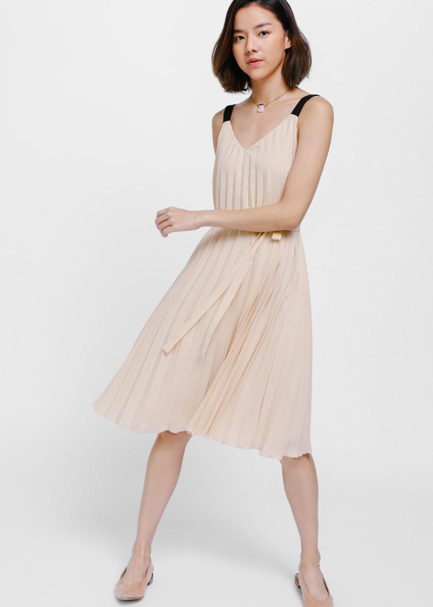Bethann Pleated Sash Midi Dress